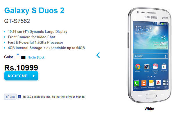 Pre-order Galaxy S Duos 2 from today in India