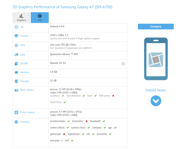 samsung galaxy a7 gfxbench entry 630x509 Samsung Galaxy A7 (SM A700) Specs Leaked on GFXBench