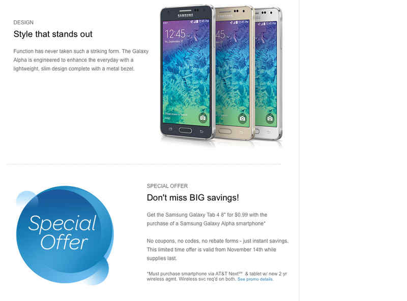 ATT Galaxy Alpha Deal AT&T Giving Away Galaxy Tab for $1 With Galaxy Alpha