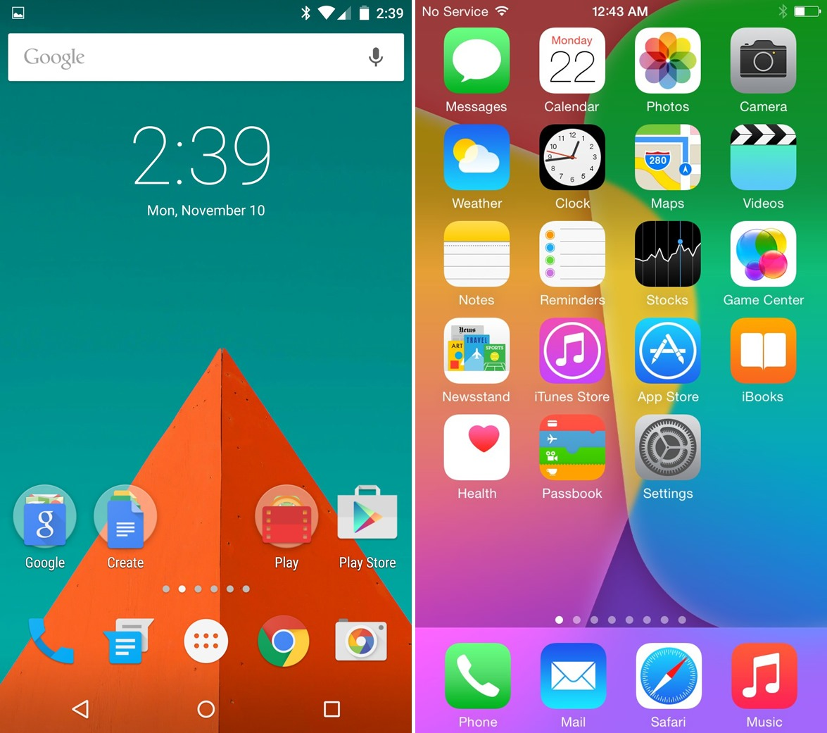 Android-5.0-Lollipop-vs-iOS-8---lock-and-home-screens