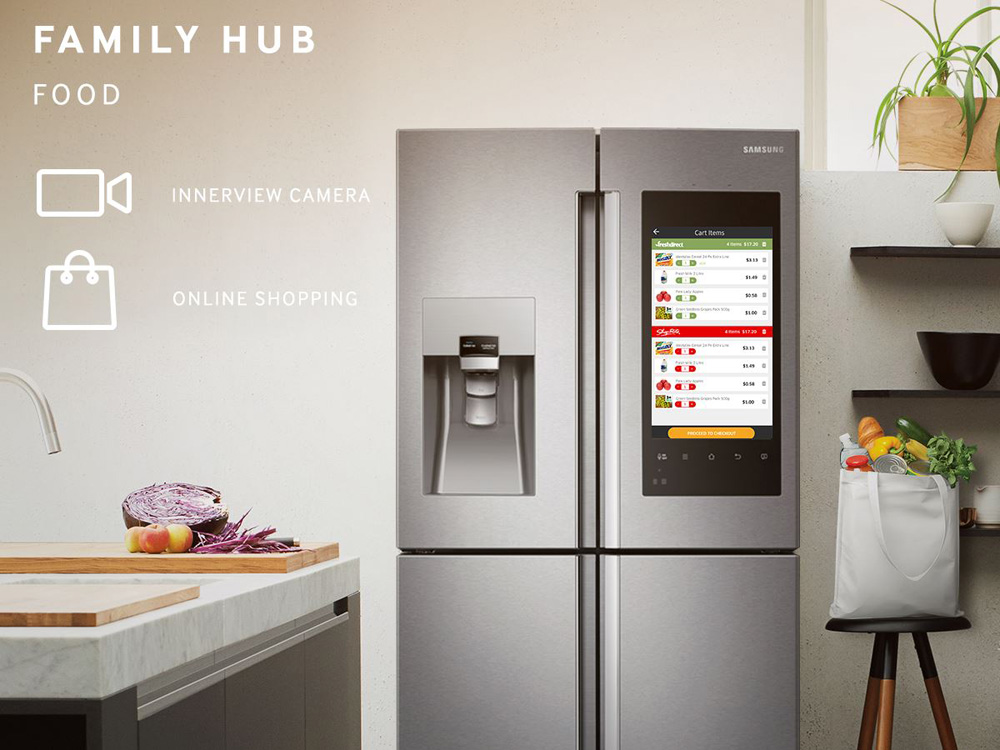 samsung s crazy refrigerator with huge display is going on. Black Bedroom Furniture Sets. Home Design Ideas