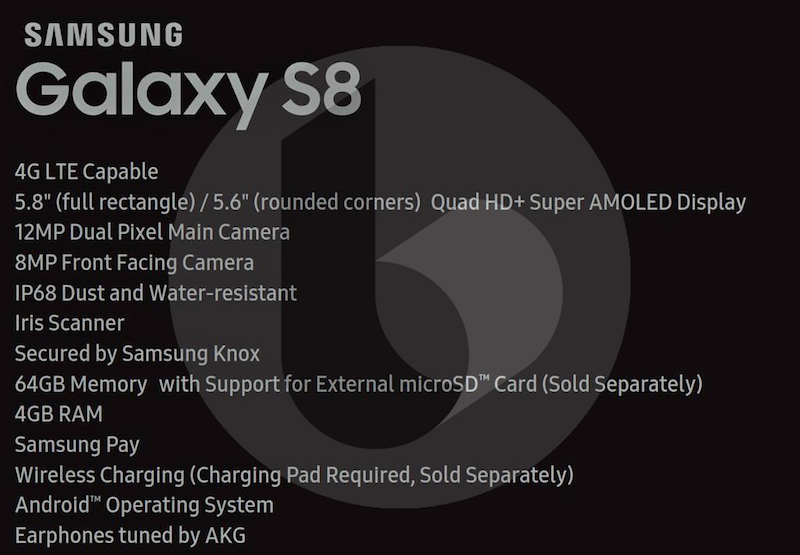 Samsung Galaxy S8 Specs finally revealed